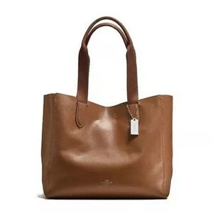 NWT COACH SADDLE NATURAL LEATHER DERBY TOTE F58660